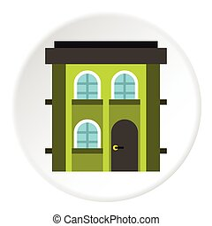 Two storey residential house icon, flat style