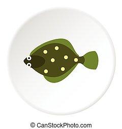 Flounder icon, flat style - Flounder icon. Flat illustration...