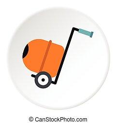 Concrete mixer icon, flat style - Concrete mixer icon. Flat...