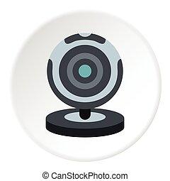 Webcam icon, flat style - Webcam icon. Flat illustration of...