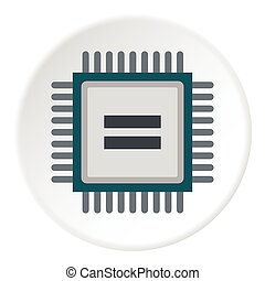 Chip icon, flat style - Chip icon. Flat illustration of chip...