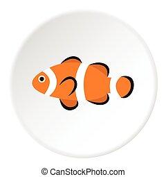 Clown fish icon, flat style - Clown fish icon. Flat...