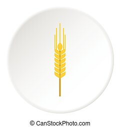 Spikelet of wheat icon, flat style - Spikelet of wheat icon....