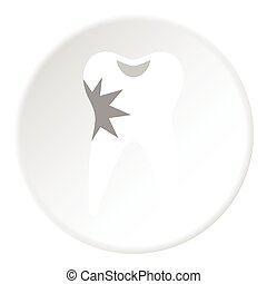 Carious tooth icon, flat style - Carious tooth icon. Flat...