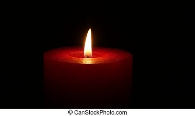 Fire of life, burning red candle. Close up - Burning candle,...