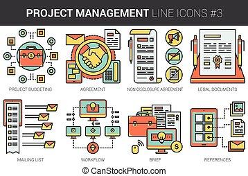 Project management line icon set. - Project management...