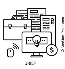 Brief line infographic. - Brief infographic metaphor with...