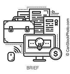 Brief line icons. - Brief infographic metaphor with line...