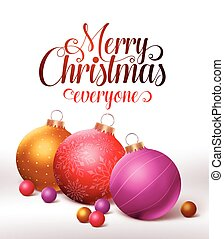 Merry christmas greetings card design with colorful...