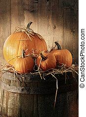 Still life with pumpkins on barrel