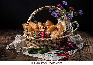 Basket With Pastry And Vegetables
