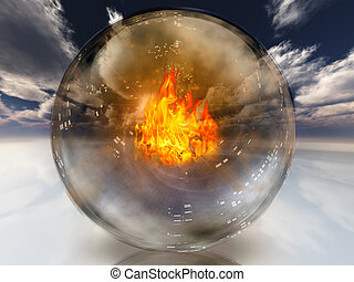 Flame contained in surreal white landscape