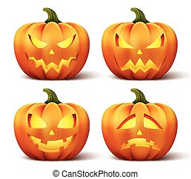 Vector pumpkins set Halloween - Vector pumpkins with set of...