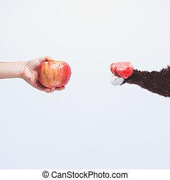 Go vegan! Concept of veganism. Vegan diet. Human hand with...