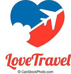 love travel logo concept - love travel, love and Airplane...