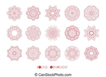 Red winter snowflake - Set of red winter vector decorative...