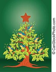 Christmas tree with birds singing