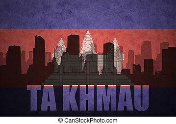 Abstract, silhouette, van, de, stad, met, tekst, TA, Khmau,...