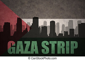 abstract silhouette of the city with text Gaza Strip at the...