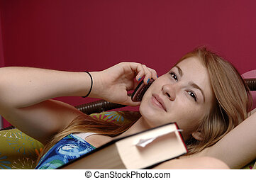 Teenager using cellphone - Teenage girl use cellphone in her...