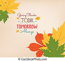 Thanksgiving Day. Colorful maples leaves and stylish text...