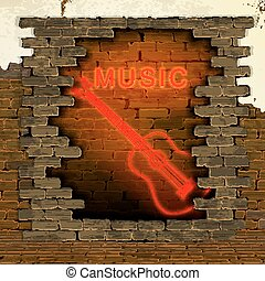 music and guitar neon light in the doorway of brick wall