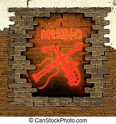 music guitar and saxophone neon light in the brick wall