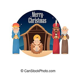 Three wise men with gift and baby jesus design