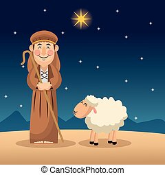 Shepherd cartoon design - Shepherd cartoon icon. Holy family...