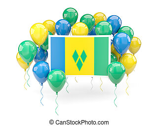 Flag of saint vincent and the grenadines with balloons -...