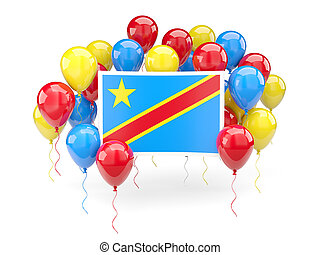 Flag of democratic republic of the congo with balloons -...