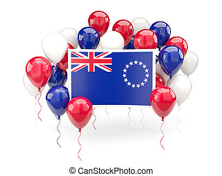 Flag of cook islands with balloons - Flag of cook islands,...