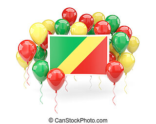 Flag of republic of the congo with balloons - Flag of...