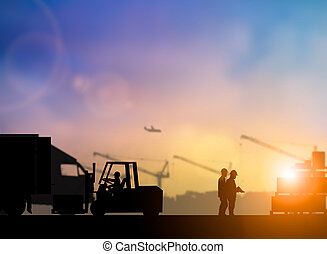 Silhouette of high voltage equipment engineer check before boarding a shuttle to dock to construction site over blurred pastel background sunset  shipping. Heavy industry and Transportation concept.