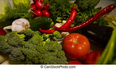Raw vegetables on table - Different raw vegetables on a...