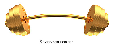 barbell - 3d illustration of golden barbell isolated over...