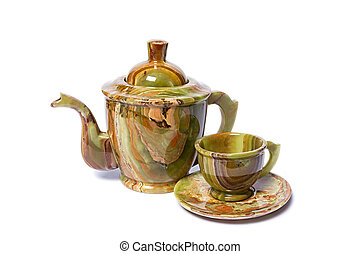 teapot and cups made of onyx - Teapots and cups made of...