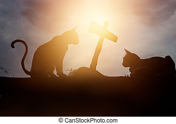 Two silhouette cats were crouching at the tomb of it friend...