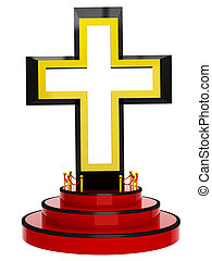 3D crossg on podium on a white background