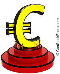 3D euro sign on podium