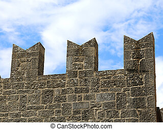 battlements of the Tower of the medieval castle - particular...