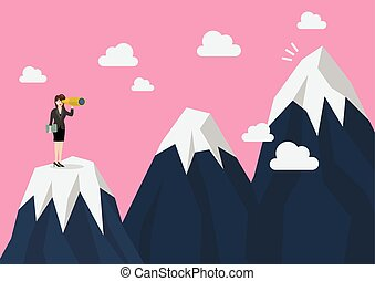 Business woman looking for mountain peak