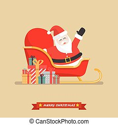 Santa claus on a sleigh with piles of presents
