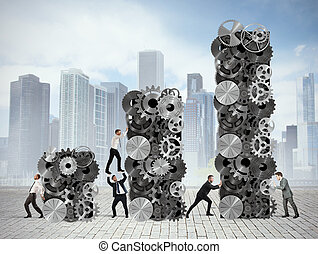 Teamwork builds corporate profit - Team builds up statistics...