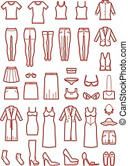 Womens clothing, female fashion line vector icons set. Shirt...