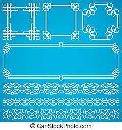 Chinese decorative vector frames and borders with oriental ornament