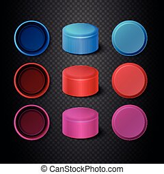 Multicolored plastic bottle caps vector set
