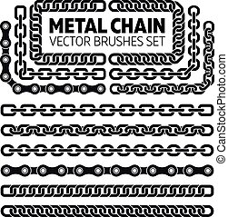 Metal chain links vector pattern brushes set. Interlink...