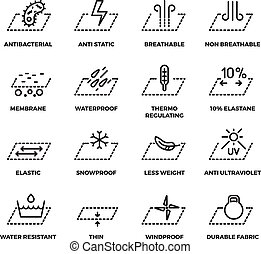 Fabric textile properties thin line vector icons