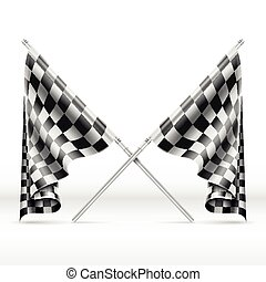 Black and white checkered crossed finish flags vector...